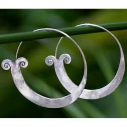 Blossoming Sterling Silver Hoop Earrings