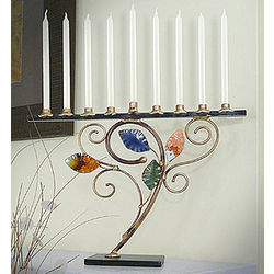 Handcrafted Swirling Leaf Mixed Metal Menorah