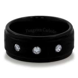 Black Tone Tungsten Carbide Three Stone Ring