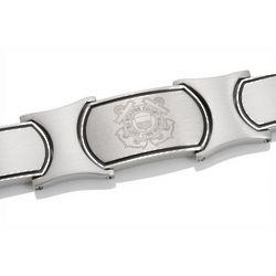 Men's Embossed Stainless Steel US Coast Guard Bracelet