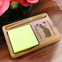 Personalized Hawaiian Dancer Wooden Notepad & Pen Holder