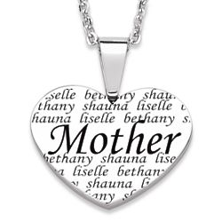 Mother Engraved Family Names Heart Necklace