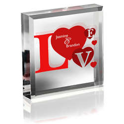 Personalized Love Lucite Paperweight