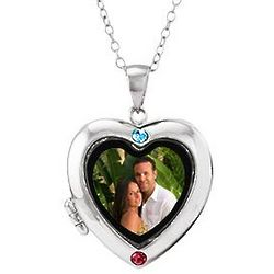 Two Stone Custom Birthstone Silver Photo Heart Locket