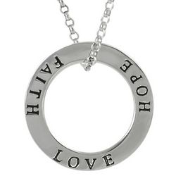 Sterling Silver Faith, Hope, Love Circle Necklace