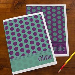 Trendy Polka Dots Personalized Folders