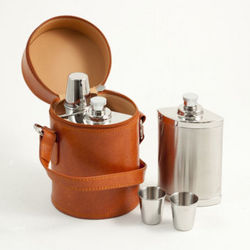 Flask Set and Leather Carrying Bag