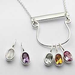 One Stone Family Birthstone Drop Pendant