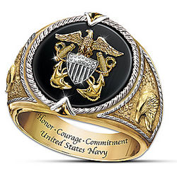 Honor, Courage and Commitment US Navy Tribute Ring