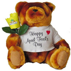 April Fool's Teddy Bear with Personalized Paper Rose