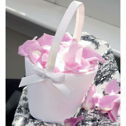 Ivory Sweet Bow Flower Girl Basket