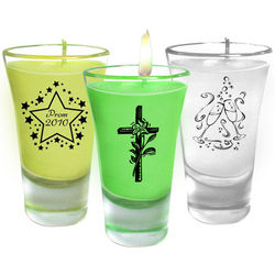 Personalized Cordial Candle Shot Glass Favors