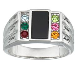 Dad's Sterling Silver & Onyx Family Birthstone Name Ring