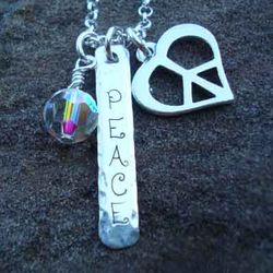 Peace & Love Sterling Silver Charm Necklace
