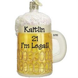 21st Birthday Mug of Beer Ornament