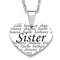 Sister Engraved Names Heart Necklace