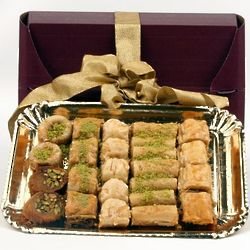 Burgundy and Gold Baklava Assortment Platter