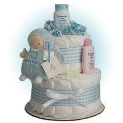 Little God Bless Angel Blue 2-Tier Diaper Cake