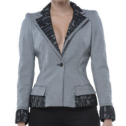 Black and White Fitted Lace Accented Jacket