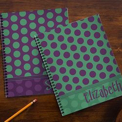 Trendy Polka Dots Personalized Large Notebooks