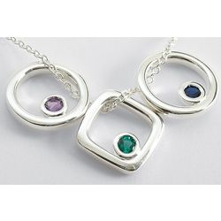 Square or Circle Birthstone Pendant