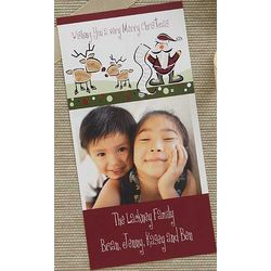 Personalized Santa and Reindeer Photo Christmas Cards