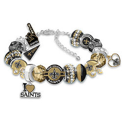 New Orleans Saints Beaded Charm Bracelet