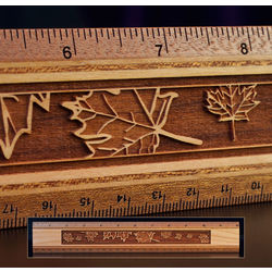 Engraved Leaf Design Fine Wood Ruler