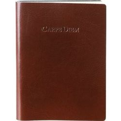 Brown Embossed Carpe Diem Lined Leather Journal