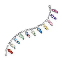 Sterling Silver-Plated Flip Flop Fun Charm Bracelet