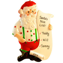 I'm On Santa's Nice List Polka Dotted Ornament