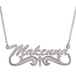 Sterling Silver Name Necklace with Celtic Cross Tail