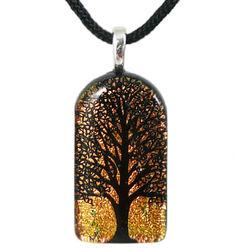 Tall Tree of Life Dichroic Glass Pendant