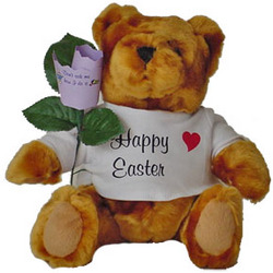 Easter Teddy Bear with Personalized Paper Rose