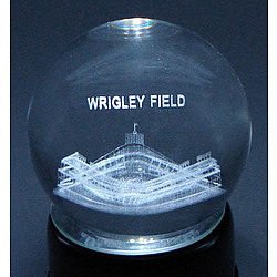 Wrigley Field Etched In Crystal Globe with Lighted Musical Base