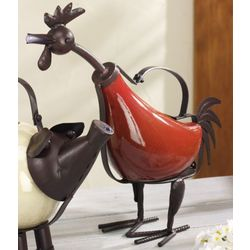 Red Rooster Sculptural Watering Can