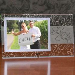 Personalized Flower Embellished Wedding Picture Frame