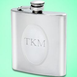 Engravable Classic Silver Flask
