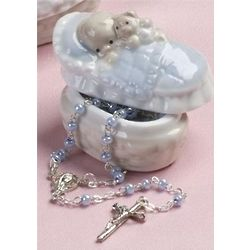 Baby Boy's Rosary with Porcelain Box