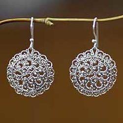 Chrysanthemum Sterling Silver Filigree Earrings