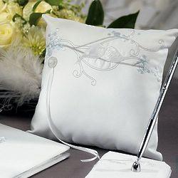 Classic White Love Birds Ring Bearer Pillow