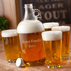 Engraved Growler and Glasses Set