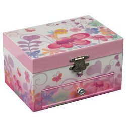 Children's Floral Musical Jewelry Box with Twirling Ballerina
