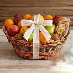 Deluxe Organic Fruit Gift Basket with Personalized Ribbon