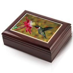 Hummingbird Photo Tile Musical Jewelry Box