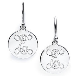 Personalized Initial Silver Circle Earrings