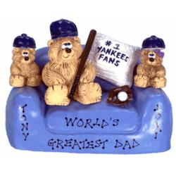 Teddy Daddy and Kids N.Y. Yankee Fans in Loveseat