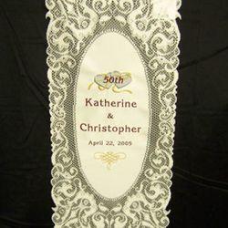 Personalized Anniversary Lace Wall Hanging