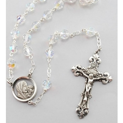 Tin Cut Crystal Rosary