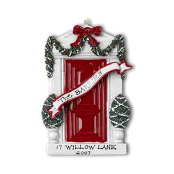 Red Door with Wreath Personalized Ornament